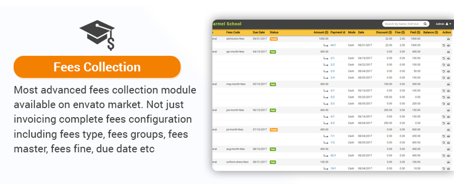 elegant school management system fees collection